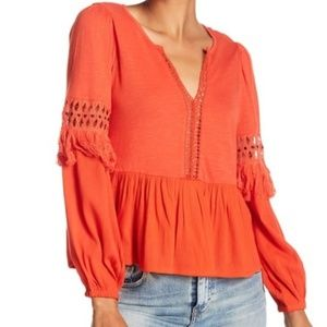 Lucky Brand Cut Out Peasant Fringe Top